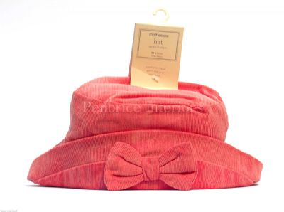 Mothercare pink bow corduroy baby girls hat up to 4 years 100% cotton Washable 40'